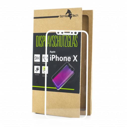 Panzerglas Apple iPhone X / 10 Schutzfolie Schutzgals Echtglas Schutz 5D WEISS