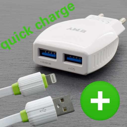 Schell Ladegerät USB Charger 2.1A mit Lade Kabel Ladegerät Quick Charge Netzteil
