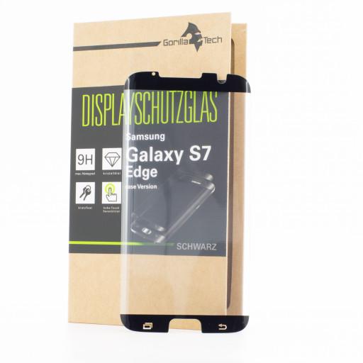Panzerglas Schutzglas Samsung Galaxy S7 edge SCHWARZ Schutz für Cases geeignet