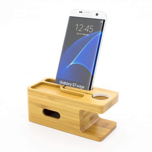 Bambus-Dockingstation für Samsung S8 und Apple Smartwatch