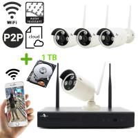 Funk Überwachungskamera HD mit 4 Kameras für Außen inkl. 1TB Festplatte