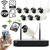 Funk Überwachungskamera HD mit 8 Kameras für Außen inkl. 1TB Festplatte