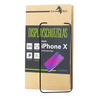 Panzerglas Apple iPhone X / 10 Schutzfolie Schutzgals Echtglas Schutz 5D SCHWARZ