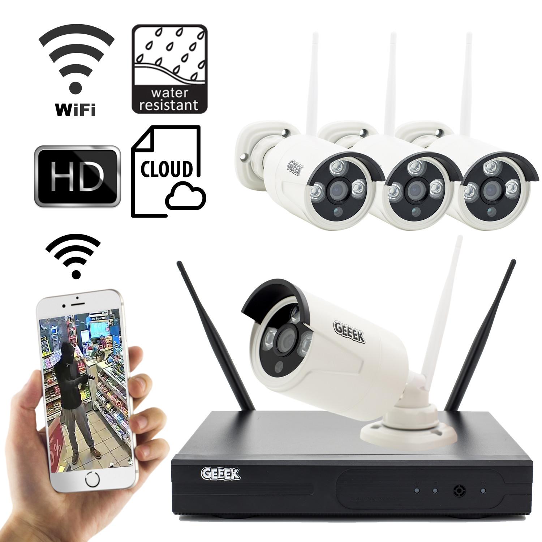 Überwachungskamera Wireless Sicherheit-Set mit 4 Kameras Außen 720p IP Drahtlos