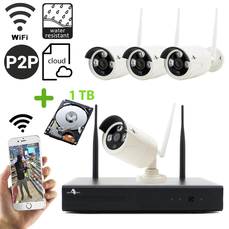 Überwachungskamera Wireless Sicherheit-Set mit 4 Kameras 960p IP Drahtlos inkl. 1TB FEstplatte
